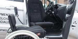 Belek Car Seat lowered to wheelchair height